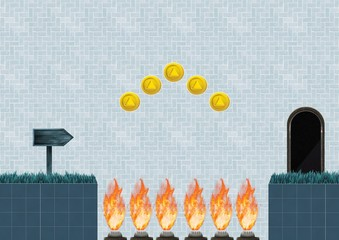 Computer Game Level with coins and traps