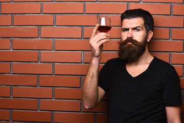 Guy with glass of cognac. Man with beard and mustache