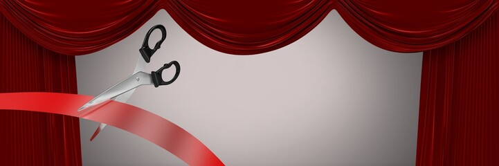 Scissors cutting ribbon with theatre curtains