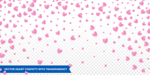 Hearts confetti pattern on transparent background for Valentines Day or wedding and birthday greeting card design template. Vector pink red heart petal confetti falling down