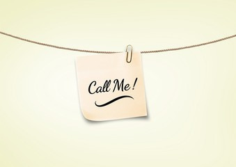call me text on post it on wash line