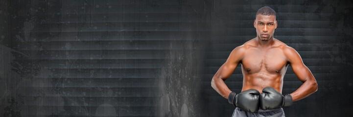 Boxer man with grey grunge background