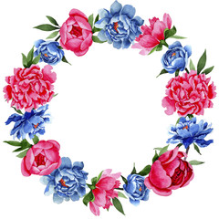 Wildflower red and blue peonies flowers wreath in a watercolor style. Full name of the plant: peony. Aquarelle wild flower for background, texture, wrapper pattern, frame or border.