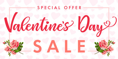 Valentines Day, rose flower and red heart Sale banner. Special offer template with text Valentine`s Day Sale on frame rose flower and red hearts background. Vector illustration
