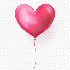 Heart balloon isolated glossy icon for Valentines Day, wedding or birthday greeting card design template. Vector 3D heart helium ballon decoration on transparent background