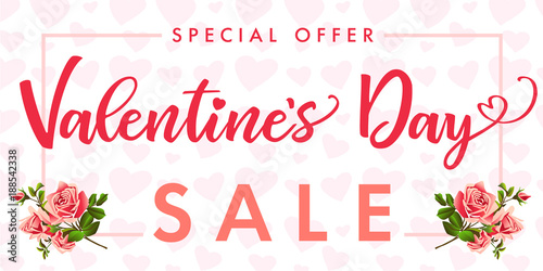 Valentines Day Rose Flower And Red Heart Sale Banner Special Offer