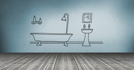 bathroom drawing on wall