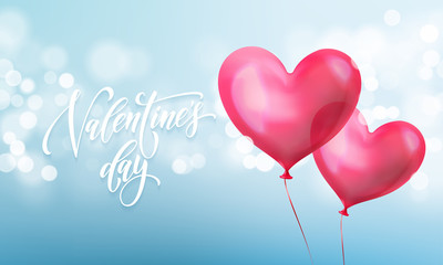 Happy Valentines day lettering text and valentine red crystal heart for greeting card background. Vector Valentines day greeting card design template of blue light shine