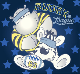 Hippo & Zebra Rugby players.Vector artwork for kids wear and cards