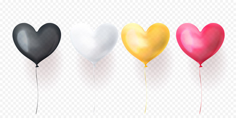 Heart balloon isolated glossy ballons for Valentines Day, wedding or birthday greeting card design. Vector heart helium balloon black, white, yellow and pink decoration set on transparent background