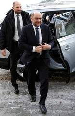 Schulz, Germany's Social Democratic Party (SPD) leader, arrives for party meeting in 'Kloster Irsee' in Irsee