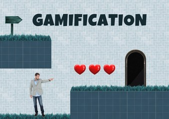 Gamification text and Man in Computer Game Level with hearts and