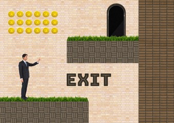 Exit text and man in Computer Game Level with coins and ladder