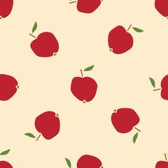 Red Apple seamless pattern. Fruit background. Vector illustration.