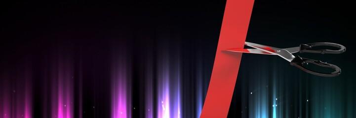 Scissors cutting ribbon with streams of aurora light