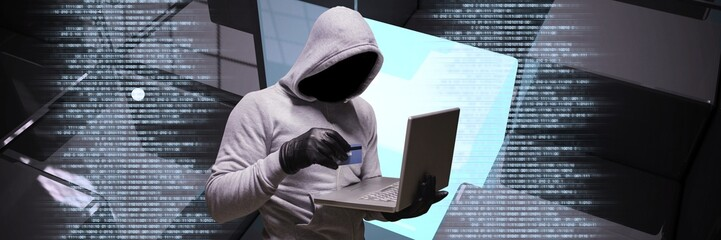 Anonymous hacker with computer code binary interface