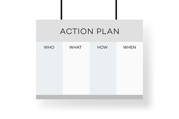 Business Action Plan On The Projector Screen. Simple And Clean Vector Template