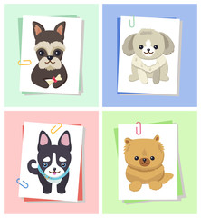 Dogs with Happy Expression Vector Illustration