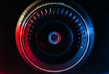 The camera lens with colored light, close photos