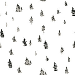 Foggy forest landscape, seamless vector