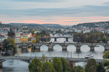 Prague, Czech Republic - October 6, 2017: Gorgeous view on Prague city center, Vltava river and cascade of bridges, Czech Republic. Autumn Prague.