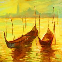 oil painting on canvas, venice, illustration