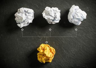 Papierkugeln als Symbol für Ideen die sich gegenseitig beeinflussen