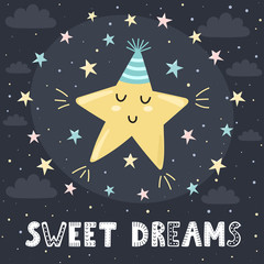 Sweet dreams card with a cute sleeping star and lettering. Vector illustration