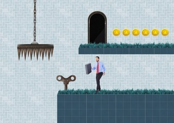 Businessman in Computer Game Level with key and coins and trap