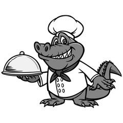 Cajun Chef Illustration - A vector cartoon illustration of a Cajun Alligator Chef mascot.