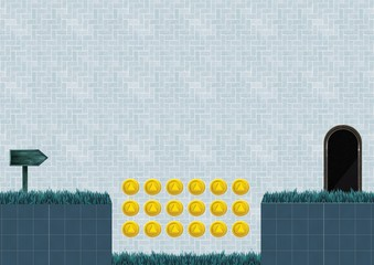 Computer Game Level with coins