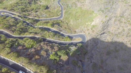 Aerial view of windy mountain road