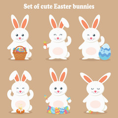 Cute vector illustration of a rabbit. Easter cartoon rabbit isolated on a brown background