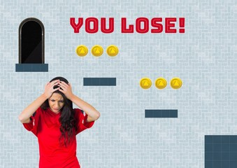 You Lose text and woman in Computer Game Level with coins