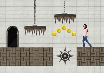 Woman in Computer Game Level with traps and coins