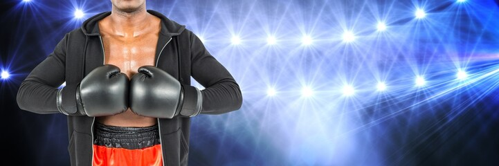 Boxer man with bright lights