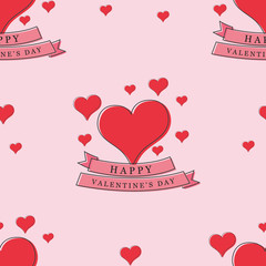 happy valentine day with ribbon handrawn style seamless background