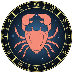 Cancer. Color zodiac sign in the circle frame.