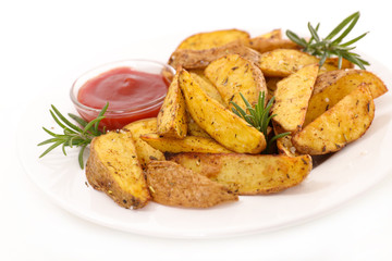 fried potatoes and ketchup