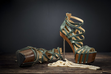 Green leather high heels for woman