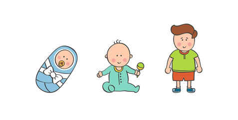 Vector illustration baby boy ages