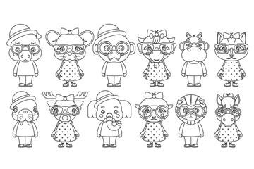 Lineart cute animal boy girl cubs mascot cartoon children icons set coloring book design vector illustration