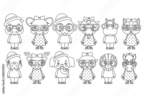 Lineart Cute Animal Boy Girl Cubs Mascot Cartoon Children Icons Set Coloring Book Design Vector Illustration
