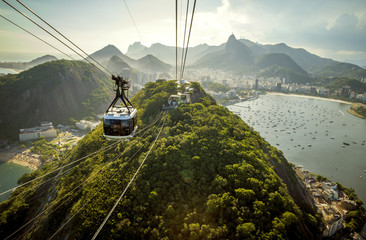 Cable car going to Sugarloaf mountain in Rio de Janeiro, Brazil Wall mural