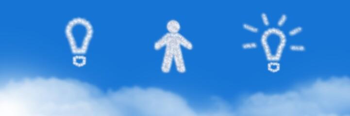 Man and light bulb ideas Cloud Icons with sky