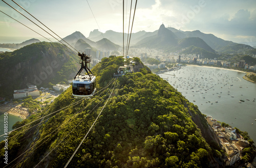 Wall mural Cable car going to Sugarloaf mountain in Rio de Janeiro, Brazil