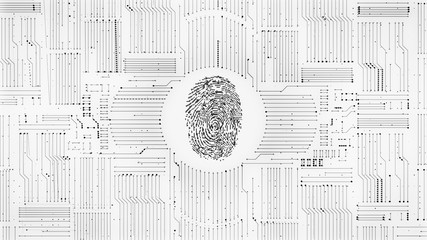 Monochrome digital fingerprint ID scan with circuitry background