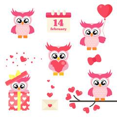 cartoon cute lovely owl set