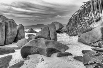 Smooth rocks of Seychelles on a beautiful beach