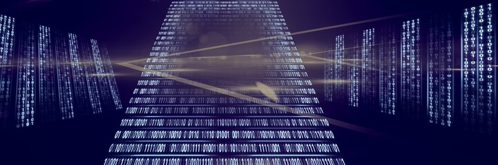 Code binary interface and purple background